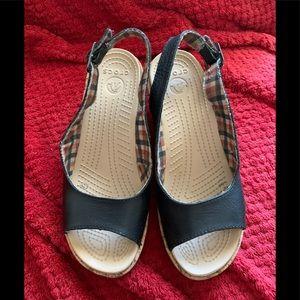 Crocs woman's sandals 7 black wedge